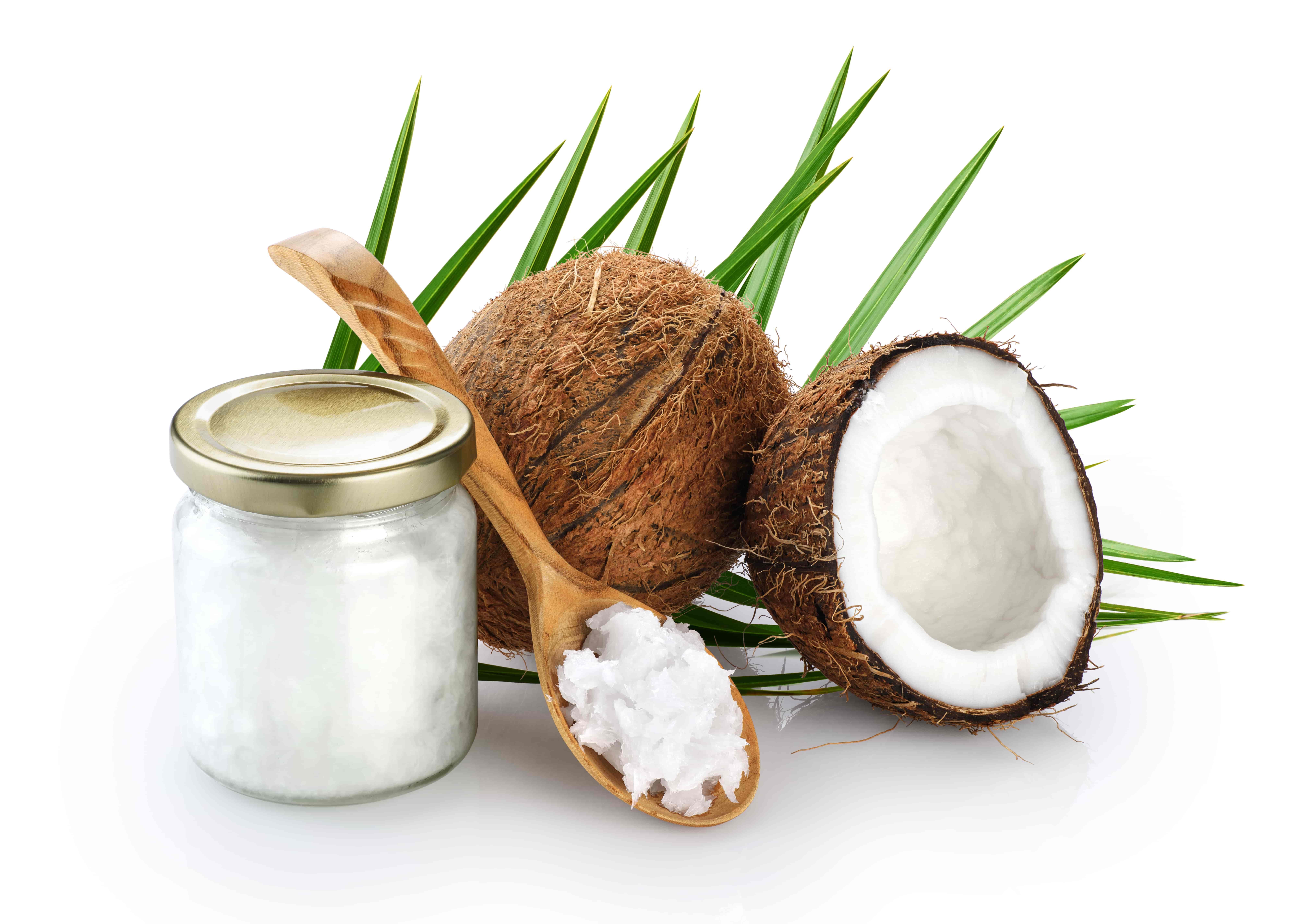 Olej kokosowy na łyżce i w słoiku
