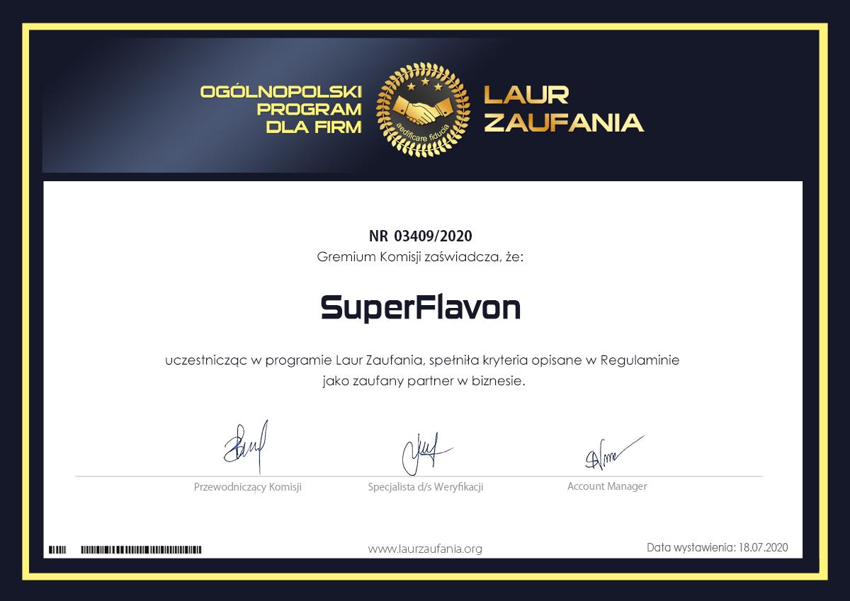 Certyfikat Super Flavon