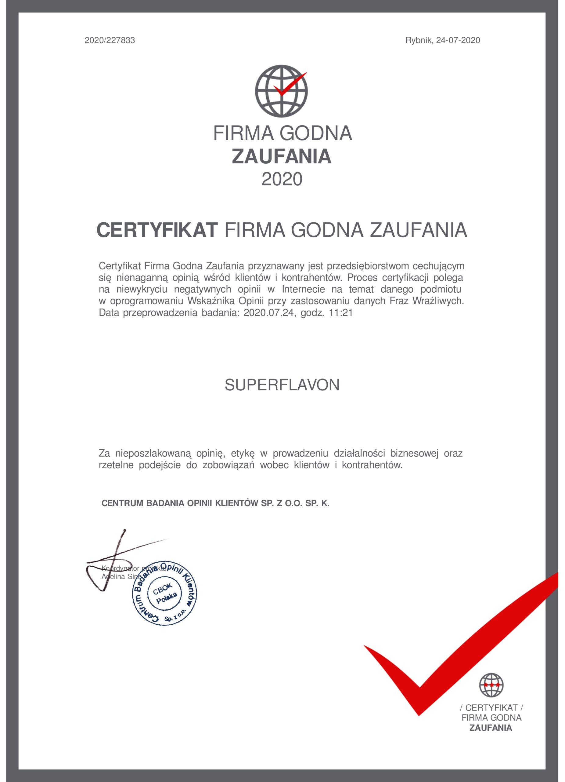 Certyfikat Firma Godna Zaufania 2020